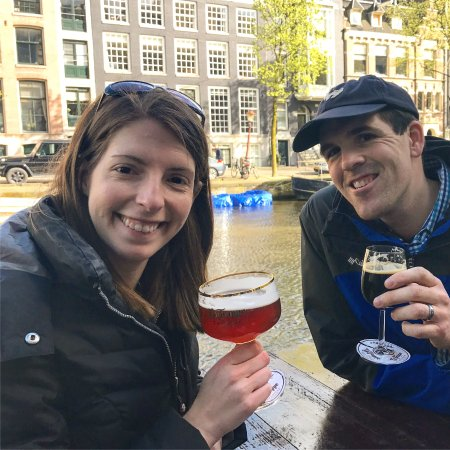 Proeflokaal Arendsnest: My wife and I enjoying a beer on the canal