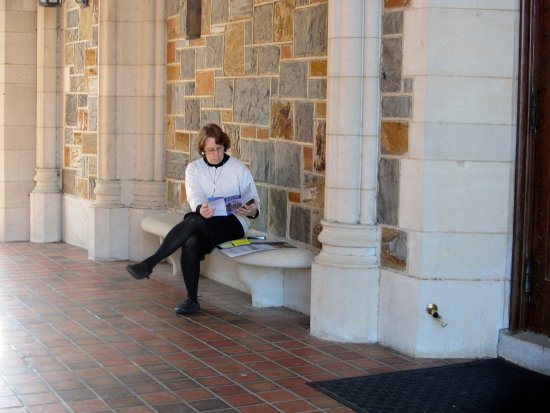 Rome, GA: my wife looking over the campus map