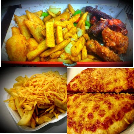 Grangemouth, UK: Our fresh hot food- combo box, chip and cheese and pizza