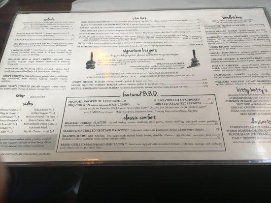 Smokin' Betty's: menu