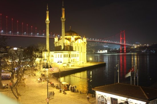 The House Hotel Bosphorus: Night view of the bridge, mosque, Bosphorus and the lit up mosque