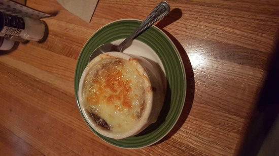 Garden City, KS: My steak dinner with French Onion soup.
