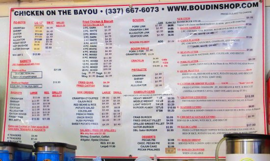 The Boudin Shop & Country Store: Check out that menu!