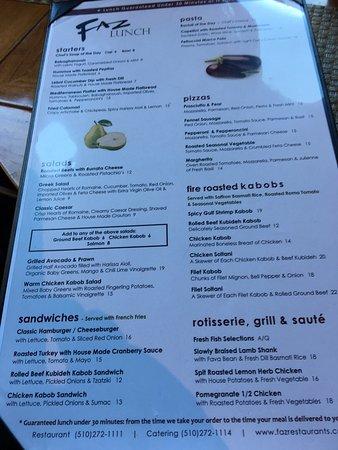 Faz Restaurant Menu Oakland