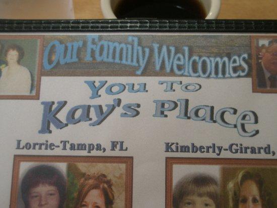Kingsville, OH: Front of menu
