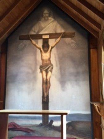 West Jefferson, Carolina del Norte: St. Mary's church frescoe closeup