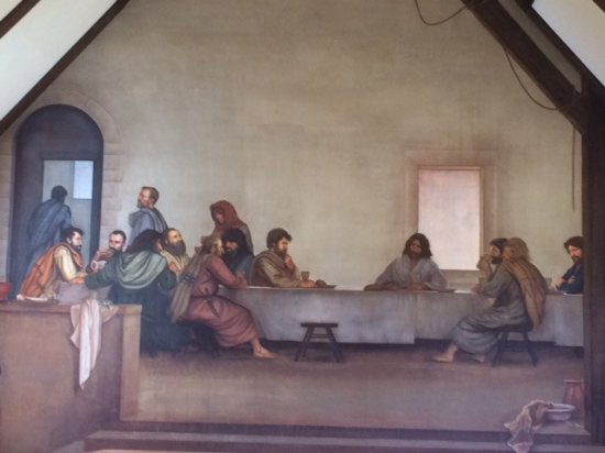 Glendale Springs, North Carolina: The Last Supper frescoe (closeup) by Ben Long and students