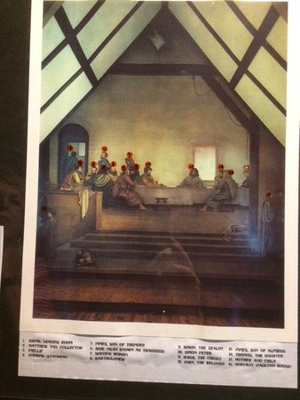 Glendale Springs, North Carolina: Print of The Last Supper frescoe with names of those depicted