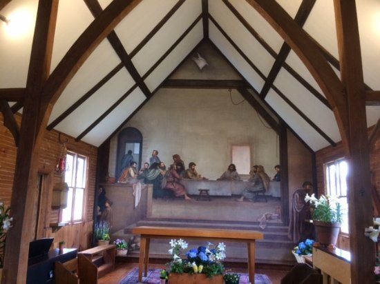 Glendale Springs, NC: The Last Supper frescoe on the back wall of the church