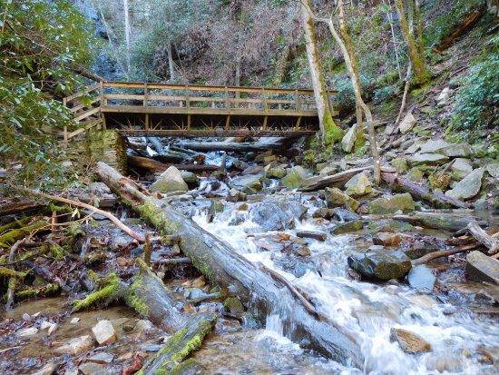 Mingo Falls bridge below the falls
