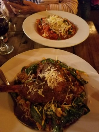 Elko, NV: manicotti (top) and lamb shank