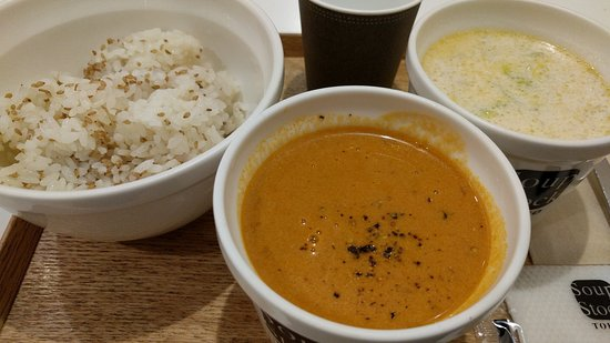 Soup Stock Tokyo: Rice with Sesame Seed, Lobster Bisque, and Cabbage Shrimp Cream Soup