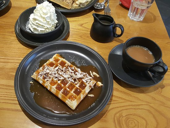 Waffle House: pecan nut waffle with butterscotch sauce