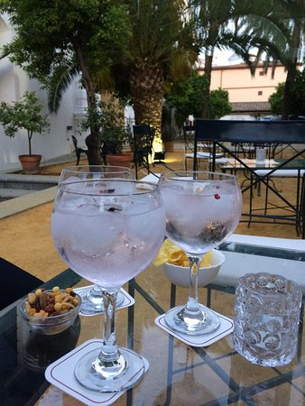 Πάλμα Ντελ Ρίο, Ισπανία: Terrace bar at the hotel Monastery de San Francisco ... Strawberry Gin and 7 up , very nice