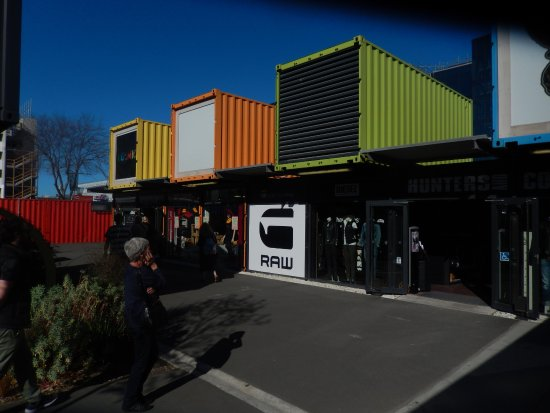 Cashel Street: Colourful array of shipping container shops