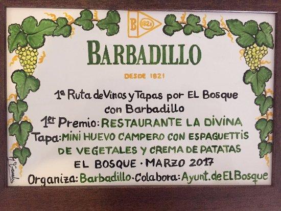El Bosque, Spania: Primer premio en Ruta de Vinos y Tapas año  2017