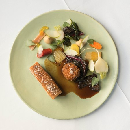 Richmond, Australia: Pork belly, suckling pig croquette, picked vegetables and mustard fruits
