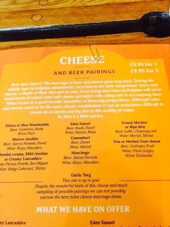 The Square Orange Cafe Bar: cheese and beer pairings
