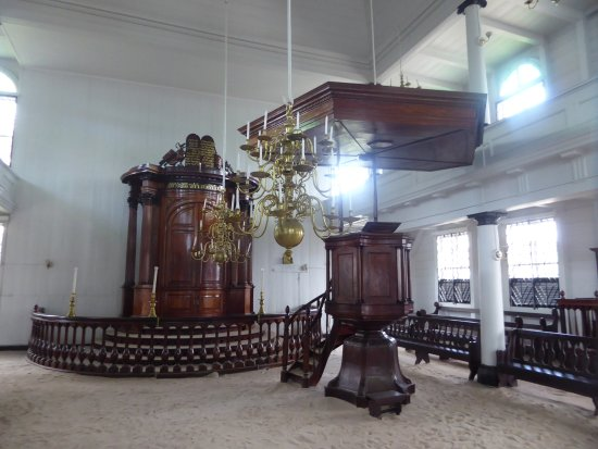 Neveh Shalom Jewish Synagogue: the Holy Ark and a pulpit