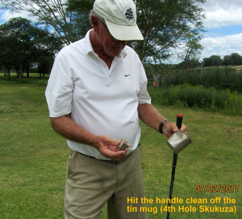 Skukuza Golf Course : Tin Mugs are placed at Tee-Boxes and used to scoop out sand for sandbags and to repair divots.