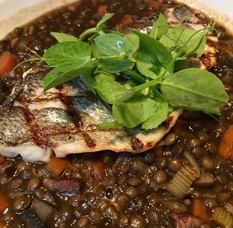 أبيكس ووترلو بليس هوتل: Grilled fish on a bed of Lentils at Elliot's