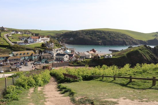 Above Outer Hope Cove looking over to the pub