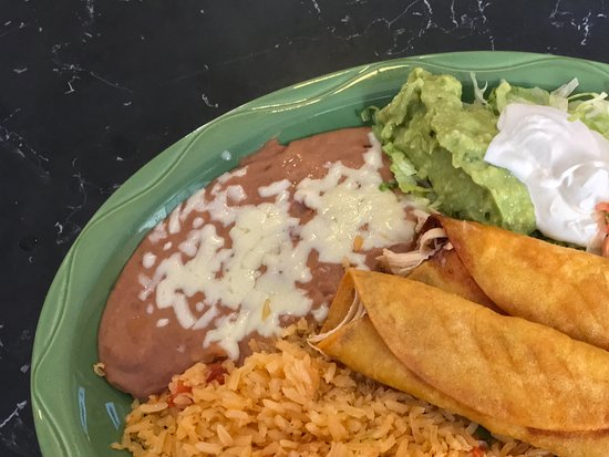 Loudon, TN: Taquitos Mexicanos*** corn tortilla filled with shredded chicken and deep fried, rice, beans