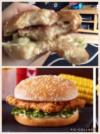Taylorville, Илинойс: the top pic is the chicken fillet burger I got fro KFC. Absolute disgrace