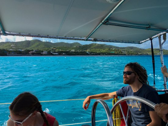 Christiansted, St. Croix: 1st Mate Dave with Yellowcliff Bay in background