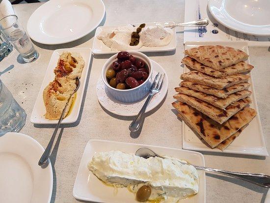 blu kouzina appetizers tsatsiki hummus taramasalata olives and pita bread