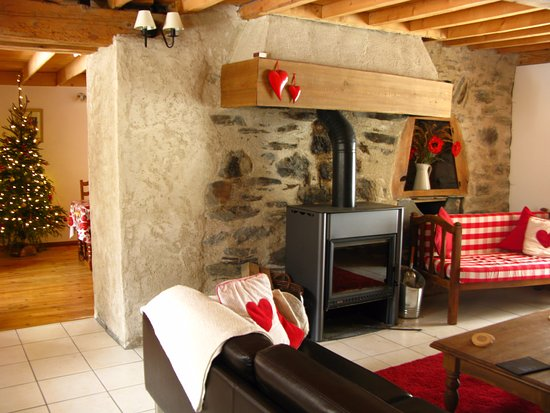 Gite Du Vallon: Woodburning stove in one of the longes at Christmas