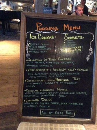 Christchurch, UK: pudding menu