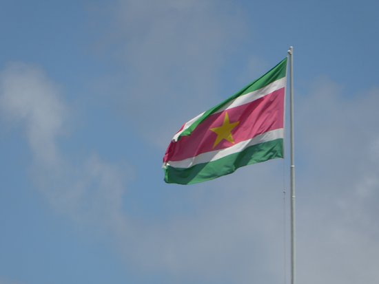 Suriname's flag by the Presidential Palace
