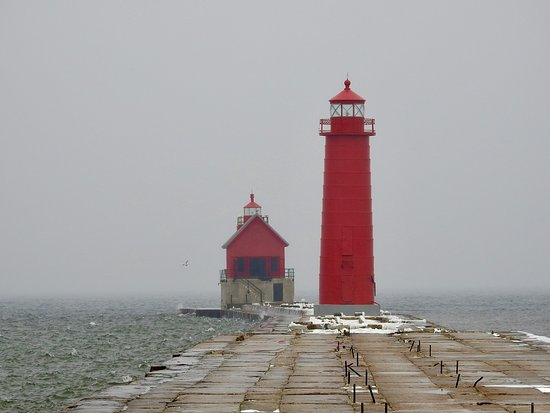 Grand Haven Lighthouse with catwalk under repair
