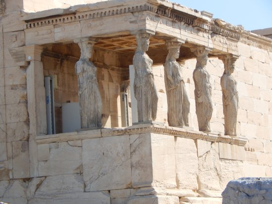 Acropolis: famous Caryatid and temple of athena