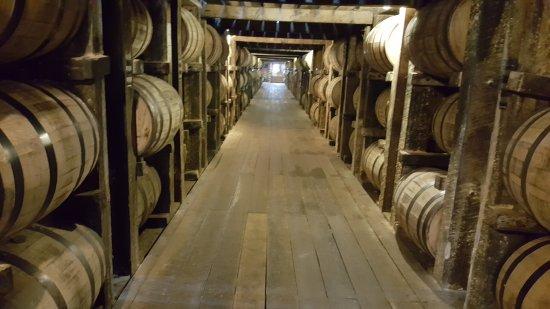 Bardstown, Kentucky: Looking down a row of bourbon barrels at Heaven Hill warehouse.