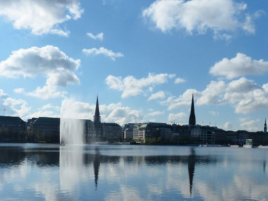 Alsterseen: Alster Lake Town hall and church spires
