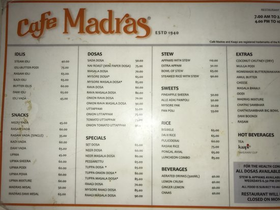 Cafe Madras: Menu