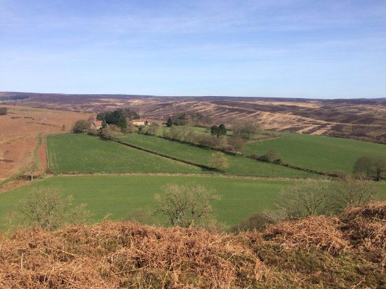 Lastingham, UK: View from hill back down onto Barmoors