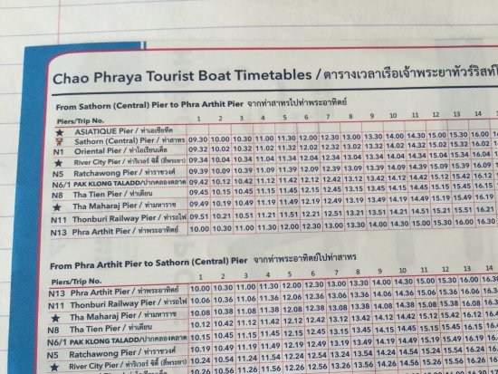 Timetable tourist boat Picture of Chao Phraya Express Boat