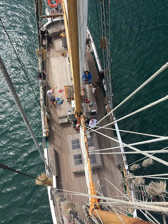 Paihia, Nowa Zelandia: View from the rigging above. Not for the faint of heart!