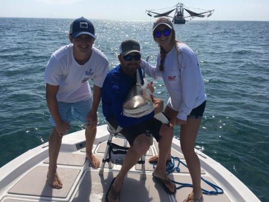 Boca Grande, FL: Our 5 foot spinner shark on board!