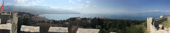 Tsar Samuel's Fortress : Panoramic view of Lake Ohrid, taken from the battlements of the Fortress