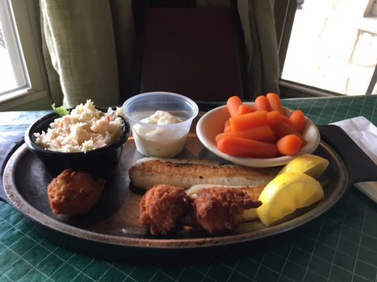 """Photo: """"Grilled flounder, glazed carrots, cole slaw, hush puppies ..."""