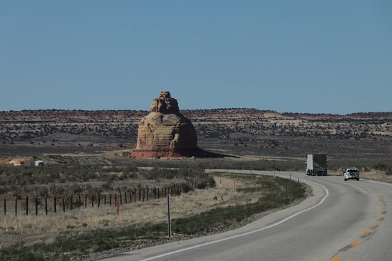 Monticello, UT: Approaching Church Rock on Route 191