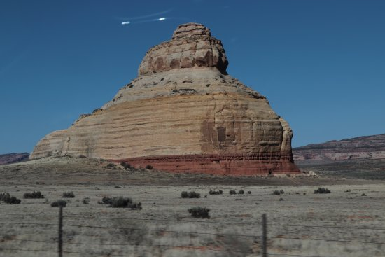 Monticello, UT: Passing by the Church Rock on Route 191