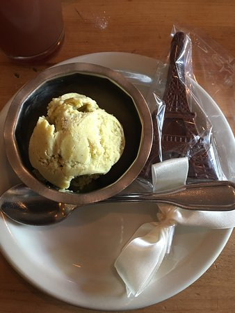 Evanston, IL: Milk Chocolate Eiffel Tower lolly pop with an added scoop of there seasonal ice cream.. pistacio