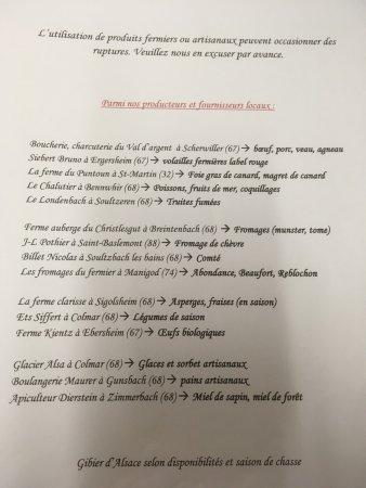 Turckheim, فرنسا: Super 👍  Peu de restaurant vous mettes la liste de leurs fournisseurs sur la carte..!  Un régal