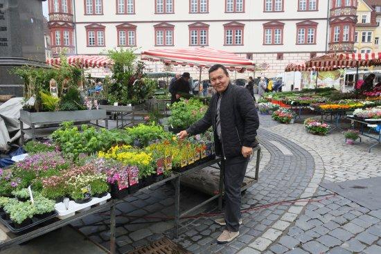 Coburg, Tyskland: рыночная площадь и сейчас рынок