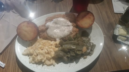 Mount Juliet, TN: Chicken fried steak with gravy, green beans, mac & cheese, and cornbread.